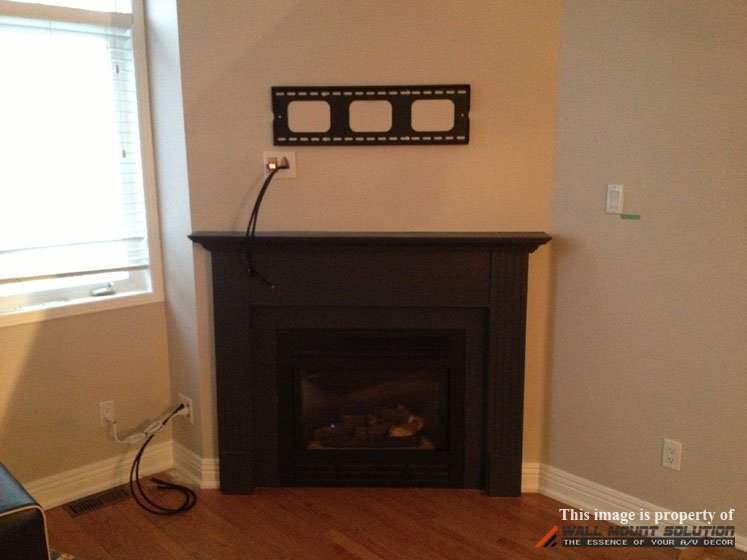 Bridge-Style Power Kit installed over fireplace 1-1