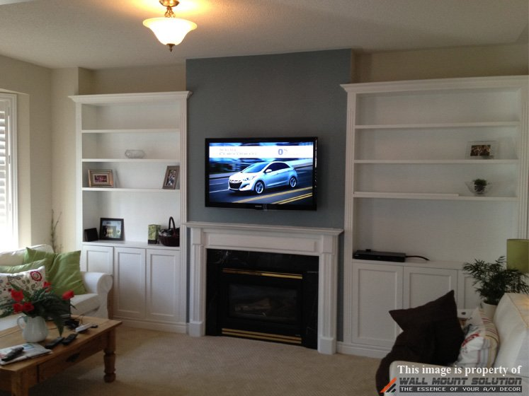 on install box tv above wall cords mounting put mounted cable where hide how mount over fireplace to