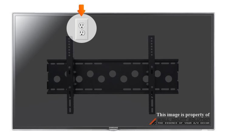Illustration of Electrical Outlet Installed behind the TV